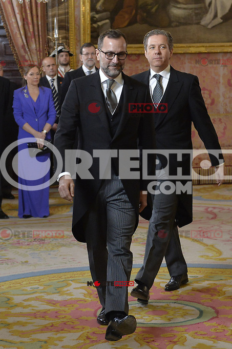 US Ambassaror James Costos, left, and his husband, Michael Smith during the annual Foreign Ambassadors reception at the Royal Palace in Madrid. January 21, 2015. (POOL/Carlos Alvarez/ALTERPHOTOS) /NortePhoto<br />