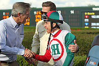 HOT SPRINGS, AR - APRIL 15: Jockey Geovanni Franco after winning the Oaklawn Handicap at Oaklawn Park on April 15, 2017 in Hot Springs, Arkansas. (Photo by Justin Manning/Eclipse Sportswire/Getty Images)