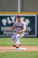 Reading Fightin Phils second baseman Scott Kingery (25) waits for a throw on a stolen base during a game against the Erie SeaWolves on May 18, 2017 at UPMC Park in Erie, Pennsylvania.  Reading defeated Erie 8-3.  (Mike Janes/Four Seam Images)