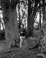 Marathon runner, John McLoughlin, N Ireland, training, December, 1973, 197312060754b<br />