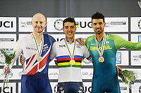Picture by Simon Wilkinson/SWpix.com - 03/03/2017 - Cycling 2017 UCI Para-Cycling Track World Championships, Velosports Centre, Los Angeles USA - winner Christopher Murphy, Jon Gildea and Lauro Cesar Chaman