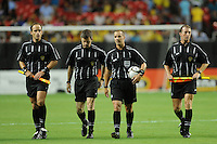 The referee crew leaves the filed at halftime. The 2010 Atlanta International Soccer Challenge was held, Wednesday, July 28, at the Georgia Dome, featuring a match between Club America and Manchester City. After regulation time ended 1-1, Manchester City was awarded the victory, winning 4-1, in penalty kicks.