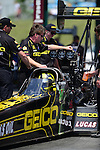 May 19, 2012; Topeka, KS, USA: NHRA crew members for top fuel dragster driver Morgan Lucas during qualifying for the Summer Nationals at Heartland Park Topeka. Mandatory Credit: Mark J. Rebilas-