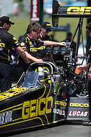 May 19, 2012; Topeka, KS, USA: NHRA crew members for top fuel dragster driver Morgan Lucas during qualifying for the Summer Nationals at Heartland Park Topeka. Mandatory Credit: Mark J. Rebilas-