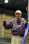 23 MAR 2012: Head Coach Jacques Curtis celebrates with his team during the Division II Womens Basketball Championship held at Bill Greehey Arena in San Antonio, TX.  Shaw University defeated Ashland University 88-82 for the national title.  Rodolfo Gonzalez/ NCAA Photos