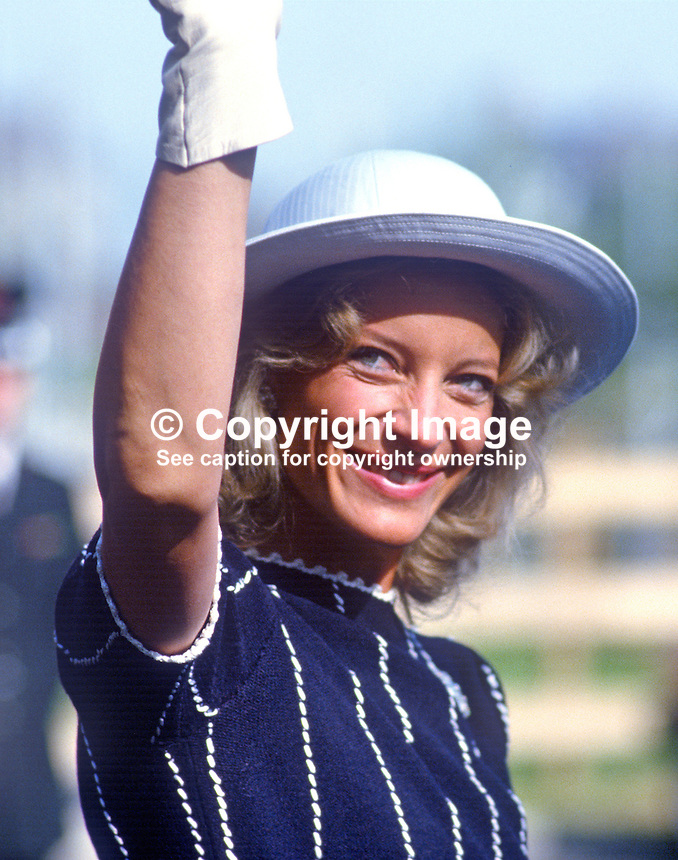 A friendly wave to spectators from a smiling Princess Michael of Kent during her visit to N Ireland in June 1985. On this occasion she was visiting the headquarters of the Fold Housing Association. 19850610PM4..Copyright Image from Victor Patterson, 54 Dorchester Park, Belfast, UK, BT9 6RJ..Tel: +44 28 9066 1296.Mob: +44 7802 353836.Voicemail +44 20 8816 7153.Skype: victorpattersonbelfast.Email: victorpatterson@me.com.Email: victorpatterson@ireland.com (back-up)..IMPORTANT: If you wish to use this image or any other of my images please go to www.victorpatterson.com and click on the Terms & Conditions. Then contact me by email or phone with the reference number(s) of the image(s) concerned.