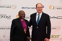 Prince Albert II of Monaco & Desmond Tutu during the 54th Monte-Carlo TV Festival - Monaco