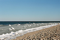 snow and ice at the beach in Montauk, NY
