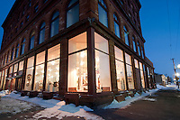 The Vertin Gallery in downtown Calumet Michigan at dusk.