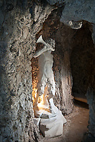 La Statua di un fauno nel Ninfeo della villa Litta Borromeo a Lainate..The statue of a faun inside the Ninfeo of Villa Litta Borromeo in Lainate