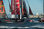 Emirates Team New Zealand in the start of the second fleet race of day four of the America's Cup World Series, San Francisco. 6/10/2012