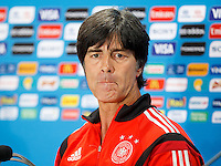 Germany manager Joachim Low looks tight lipped during the press conference