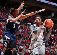 Ohio State Buckeyes center Lisa Blair (21) is guarded by Old Dominion Lady Monarchs forward Shae Kelley (1) during Friday's NCAA Division I basketball game at Value City Arena in Columbus on November 22, 2013. Ohio State led at halftime, 36-26. (Barbara J. Perenic/The Columbus Dispatch)