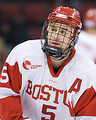David Warsofsky (BU - 5) - The visiting Merrimack College Warriors tied the Boston University Terriers 1-1 on Friday, November 12, 2010, at Agganis Arena in Boston, Massachusetts.