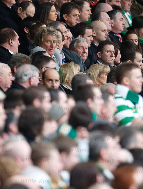 Rod Stewart watches the action