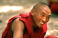 Under the studied supervision of scholar monks, a new generation practice their philosophical debating skills before a large, curious, worldwide audience at the Sera Monastery in Lhasa. With a mixture of playfulness and intensity, two monks (one seated and one standing) challenged each other's knowledge of Buddhist scriptures..