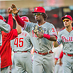 23 May 2015: Philadelphia Phillies outfielder Odubel Herrera celebrates victory after a game against the Washington Nationals at Nationals Park in Washington, DC. The Phillies defeated the Nationals 8-1 in the second game of their 3-game weekend series. Mandatory Credit: Ed Wolfstein Photo *** RAW (NEF) Image File Available ***