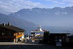 Car ferry on the lake, Stätter See. Beckenried to Gersau ferry. Beckenried, Luzern area, Switzerland.