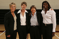 STANFORD, CA - OCTOBER 9:  Kate Paye, Amy Tucker, Tara VanDerveer, and Bobbie Kelsey of the Stanford Cardinal during picture day on October 9, 2008 at Maples Pavilion in Stanford, California.