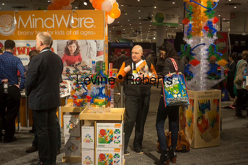 Mindware booth at the 110th American International Toy Fair in the Jacob Javits Convention center in New York on Monday, February 11, 2013.  The four day trade show connects buyers and sellers and is expected to draw tens of thousands of attendees.  The toy industry generates  $21.87 billion in the United States and Toy Fair is the largest toy trade show in the Western Hemisphere. (© Richard B. Levine)