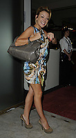 Sheridan Smith.The Prince Albert II of Monaco Olympians Reception, Old Burberry Building, Haymarket, London, England..August 9th, 2012.full length blue grey gray green print dress patent bag purse side hand arm.CAP/CAN.©Can Nguyen/Capital Pictures.