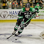 24 October 2015: University of North Dakota Defenseman Troy Stecher, a Junior from Richmond, British Columbia, in second period action against the University of Vermont Catamounts at Gutterson Fieldhouse in Burlington, Vermont. North Dakota defeated the Catamounts 5-2 in the second game of their weekend series. Mandatory Credit: Ed Wolfstein Photo *** RAW (NEF) Image File Available ***