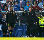 Neil Lennon complains to fourth official Iain Brines after Cha Du Ri's red card