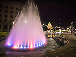 Colorful fountain, Nikola Pasic Square, Streets at night in Belgrade, Serbia