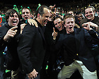 Feb. 9, 2011; Men's Basketball head coach Mike Brey celebrates with the student section after the Irish defeated Louisville...Photo by Matt Cashore
