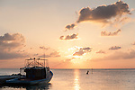 Bodufinolhu Island, Laamu Atoll, Maldives; fishing boats docked at the harbor with the sun setting in the distance