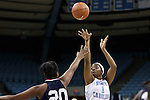 14 November 2014: North Carolina's Stephanie Mavunga (1) shoots over Howard's Jordan Coleman (20). The University of North Carolina Tar Heels hosted the Howard University Bison at Carmichael Arena in Chapel Hill, North Carolina in a 2014-15 NCAA Division I Women's Basketball game. UNC won the game 83-49.