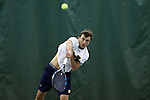 13 March 2016: Notre Dame's Eddy Covalschi. The Wake Forest University Demon Deacons hosted the University of Notre Dame Fighting Irish at the Wake Forest Indoor Tennis Center in Winston-Salem, North Carolina in a 2015-16 NCAA Division I Men's Tennis match. Wake Forest won the match 7-0.