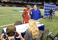 Marquis Maze of Alabama talks with the reporters during BCS Media Day at Mercedes-Benz Superdome in New Orleans, Louisiana on January 6th, 2012.