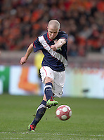 Michael Bradley takes a shot on goal.  .The USA men fell to the Netherlands 2-1 at Amsterdam ArenA, Wednesday, March 3, 2010.