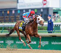 Groupie Doll, with Rajov Maragh aboard, wins the Humana Distaff Stakes on Kentucky Derby Day at Churchill Downs in Louisville, Kentucky on May 5, 2012.