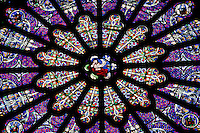 Rose window, northern transept, 19th century, Abbey church of Saint Denis, Seine Saint Denis, France. Picture by Manuel Cohen