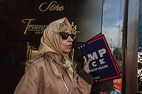 NEW YORK,NY October 29,2016. A woman supporting Trump during  a rally for Donald Trump outside of Trump Tower in Manhattan, October 29,2016. Photo by VIEWpress/Maite H. Mateo
