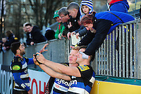 Bath Rugby players mingle with the crowd after the match. Aviva Premiership match, between Bath Rugby and London Irish on March 5, 2016 at the Recreation Ground in Bath, England. Photo by: Patrick Khachfe / Onside Images