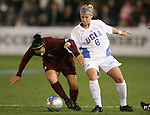 2 December 2005: FSU's Sel Kuralay (l) and UCLA's McCall Zerboni (r). The UCLA Bruins defeated the Florida State Seminoles 4-0 in their NCAA Division I Women's College Cup semifinal at Aggie Soccer Stadium in College Station, TX.