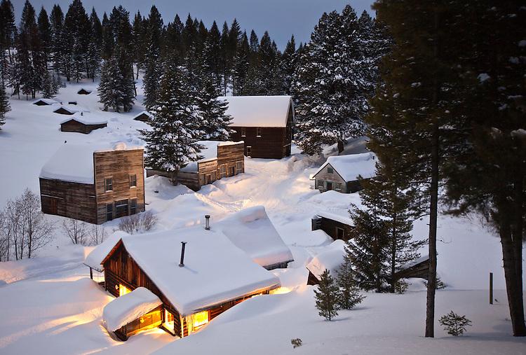 Overlooking Garnet Ghost Town during winter, Garnet, Montana, USA