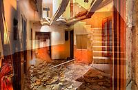 Distraccions<br /> <br /> Hi senyoreja el buit.<br />  <br /> Les bigues, corcades, han cedit,<br /> el sostre esmicolat damunt del terra,<br /> la galeria de la cortina mig despresa<br /> i el seu vellut vermell empolsegat,<br /> la barana caiguda, la finestra tancada,<br /> les portes obertes o arrencades,...<br /> fan de la casa un territori inh&ograve;spit,<br /> g&egrave;lid, despullat, d&rsquo;intimitats perdudes.<br />  <br /> I tanmateix la llum,<br /> com una m&agrave; cordial,<br /> com una pluja fina de claror<br /> travessant, amarant les estances<br /> rescatant-les del pes de la nit,<br /> reescrivint-hi paraules ja dites,<br /> retornant-los les cares, les veus,<br /> els seus somnis.<br /> <br /> Carles Duarte i Montserrat<br /> <br /> <br /> Distractions<br /> <br /> Le vide y r&eacute;gnait.<br /> <br /> Les poutres, vermoulues, ont c&eacute;d&eacute;,<br /> le plafond en miettes sur le sol,<br /> la tringle du rideau &agrave; demi arrach&eacute;e<br /> et son velours rouge poussi&eacute;reux,<br /> la balustrade tomb&eacute;e, la fen&ecirc;tre ferm&eacute;e,<br /> les portes ouvertes ou arrach&eacute;es&hellip;<br /> font de cette maison un territoire inhospitalier,<br /> glac&eacute;, nu, d&rsquo;intimit&eacute;s perdues.<br /> <br /> Et pourtant la lumi&egrave;re,<br /> comme une main cordiale,<br /> comme une pluie fine de lueur<br /> qui transperce et d&eacute;trempe les pi&egrave;ces,<br /> les d&eacute;livre du poids de la nuit,<br /> y r&eacute;&eacute;crit des paroles d&eacute;j&agrave; prononc&eacute;es,<br /> recr&eacute;e les visages, les voix,<br /> leurs r&ecirc;ves.