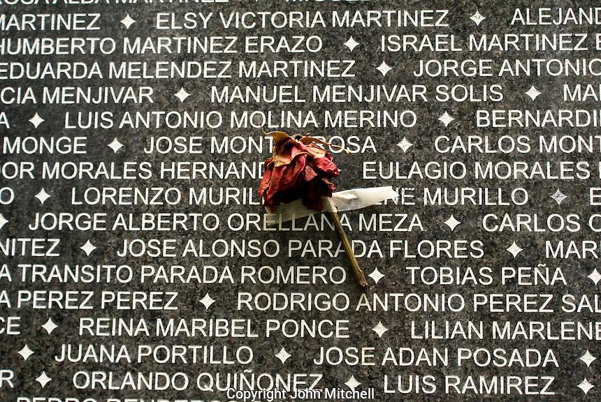 Flower taped to the Monumento a la Memoria y la Verdad or Monument to Memory and Truth in Parque Cuscatlan, San Salvador, El Salvador