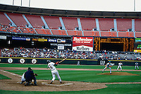SAN FRANCISCO, CA - Barry Bonds bats in a half-empty stadium on opening day during a San Francisco Giants game against the Florida Marlins at Candlestick Park in San Francisco, California in 1995. Photo by Brad Mangin
