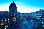 Plaza San Francisco and the 18th century Baroque Iglesia de San Francisco at dusk in La Paz, Bolivia.