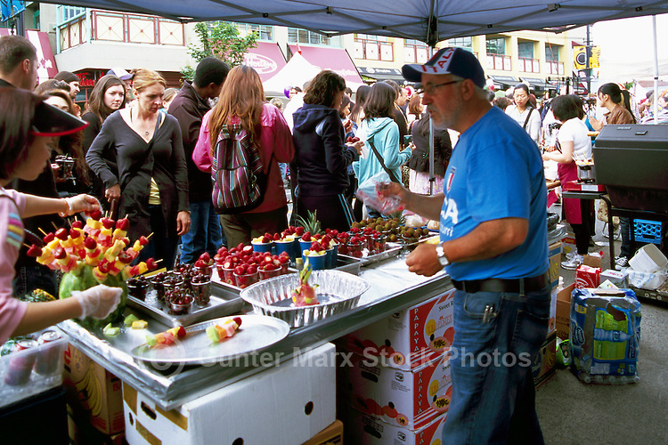 Fresh Fruits for Sale at Fruit Stall Vendor, Italian Day Festival on Commercial Drive, Vancouver, BC, British Columbia Canada