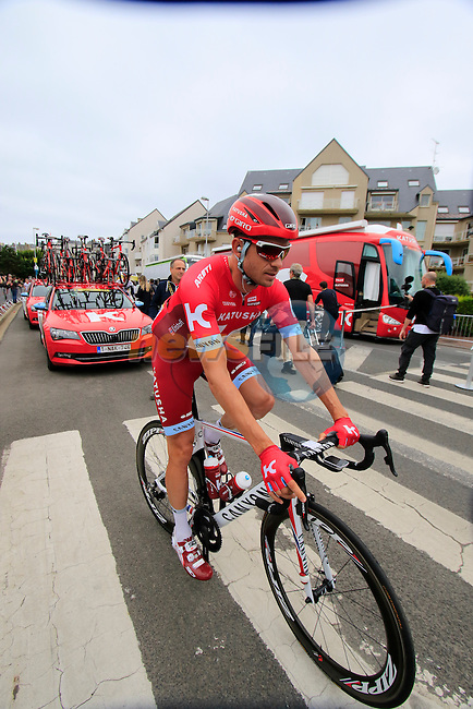 Alexander Kristoff (NOR) Katusha makes his way to sign on before the start of Stage 3 of the 2016 Tour de France, running 223.5km from Granville to Angers, France . 4th July 2016.<br /> Picture: Eoin Clarke | Newsfile<br /> <br /> <br /> All photos usage must carry mandatory copyright credit (&copy; Newsfile | Eoin Clarke)