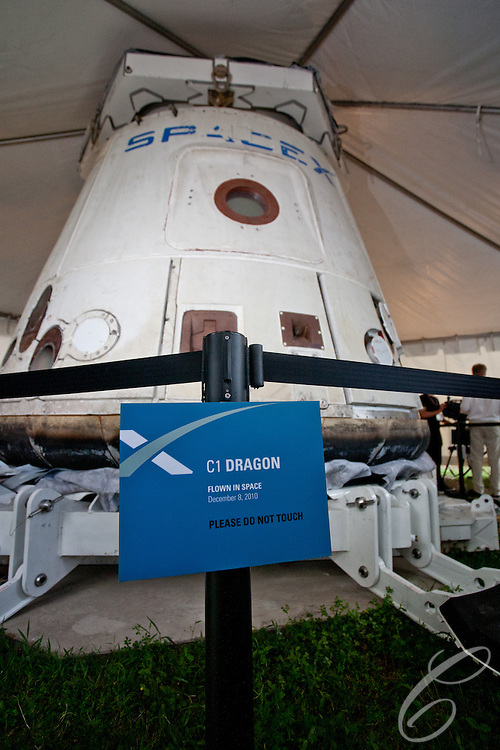 SpaceX's C1 Dragon Capsule which flew in space on December 8, 2011.  SpaceX became the first commercial company in history to re-enter a spacecraft from Earth orbit.