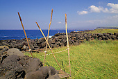 Hawaiian heiau O Kaalalea, a religious place of worship, located at the south point of the Big Island