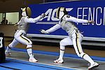 DURHAM, NC - FEBRUARY 25: Notre Dame's Samantha Viqueira (left) and Sabrina Massialas (right) during their semifinal Women's Foil match. The Atlantic Coast Conference Fencing Championships were held on February, 25, 2017, at Cameron Indoor Stadium in Durham, NC.