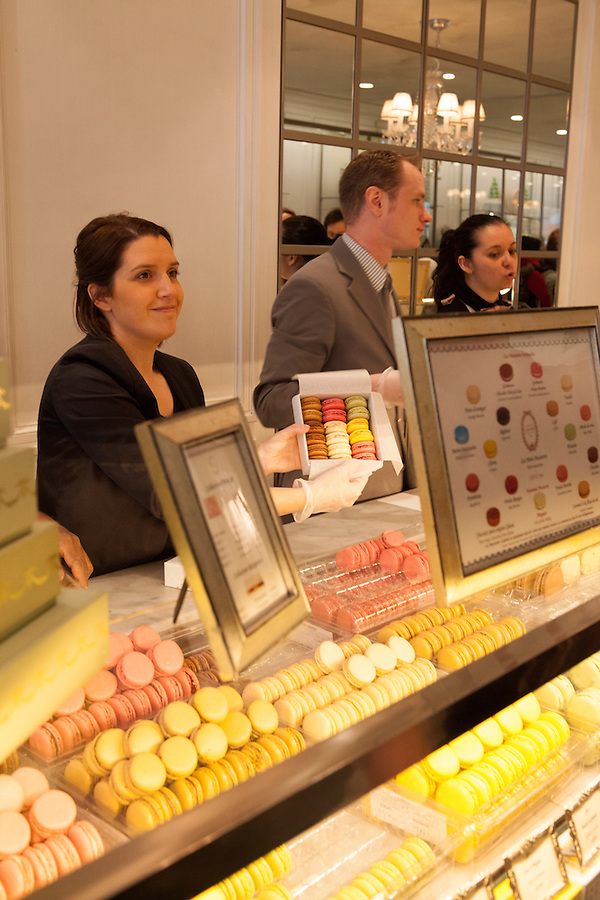 The famous macarons made by Laduree, a well-known  luxury patisserie, Rue de Royale, Paris, France, Europe